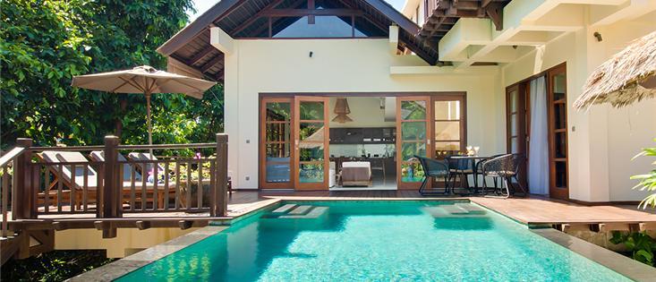 4bd resort villa Indah. Wow! White sand beach club